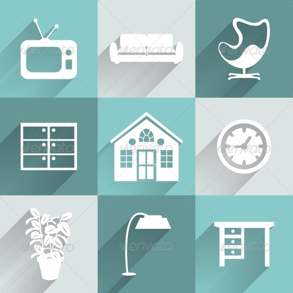 GraphicRiver Interior Furniture Icons Set 6406369