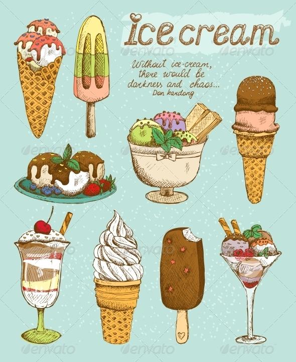 GraphicRiver Tasty Ice Cream Set 6406381
