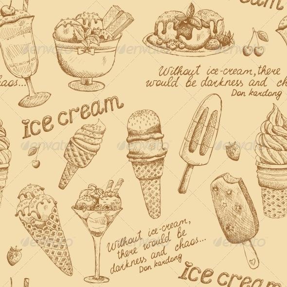 GraphicRiver Ice Cream Vintage Pattern 6406392