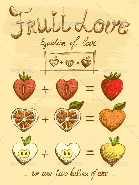 GraphicRiver Fruit Love Formula Vintage Poster 6406401