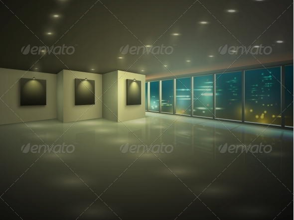 GraphicRiver Empty Illuminated Apartment at Night 6406446