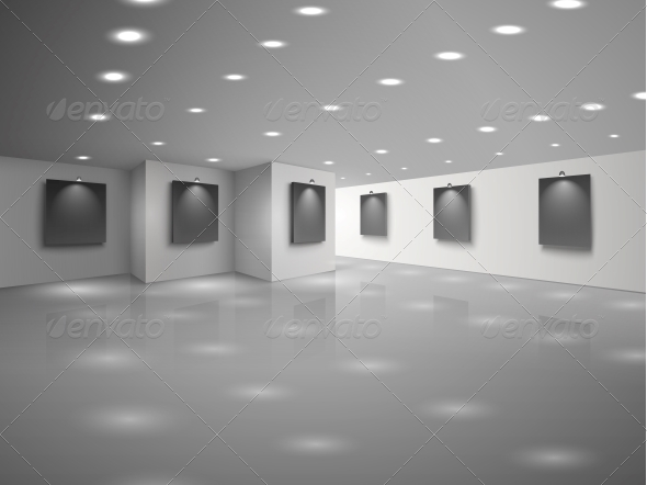 GraphicRiver Empty White Hall Interior with Blank Canvases 6406447