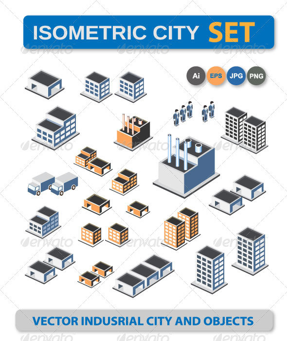 GraphicRiver Isometric Buildings 6408119
