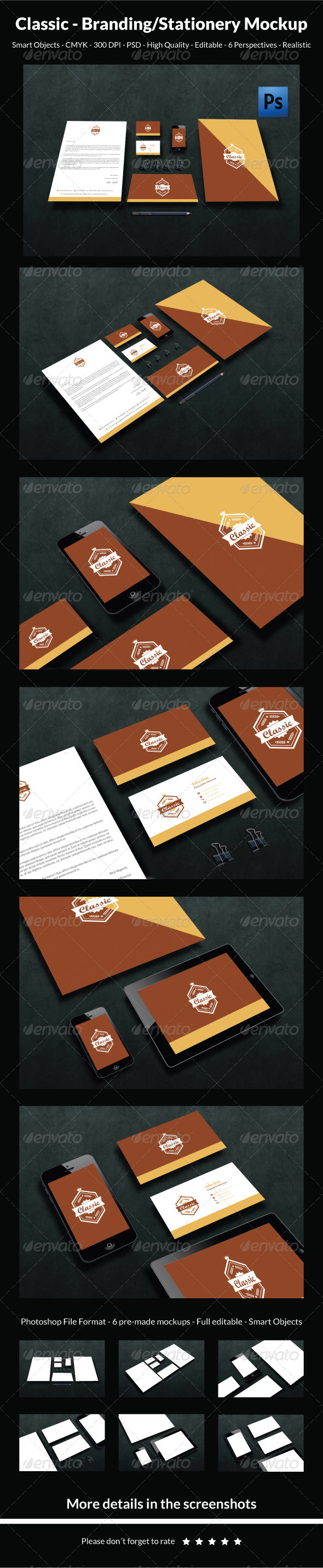 GraphicRiver Classic- Branding Stationery Mockup 6237006