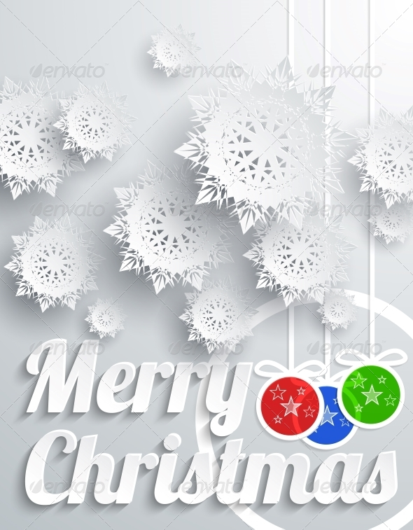 GraphicRiver Merry Christmas with Snowflake and Balls 6408157