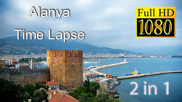 Timelapse View of Kizil Kule Alanya Turkey