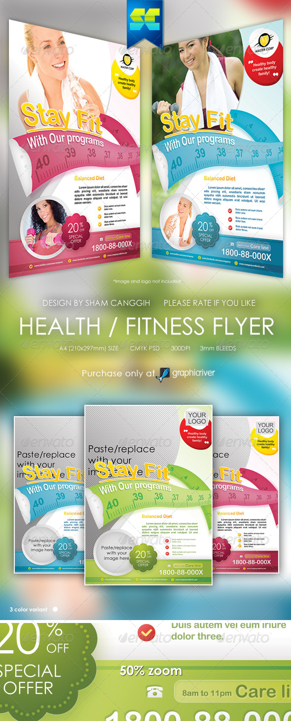GraphicRiver Health & Fitness Flyer Magazine Ads 6408243