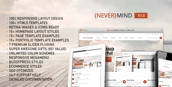 Nevermind - All in One HTML5 Website Template Site Templates Themes