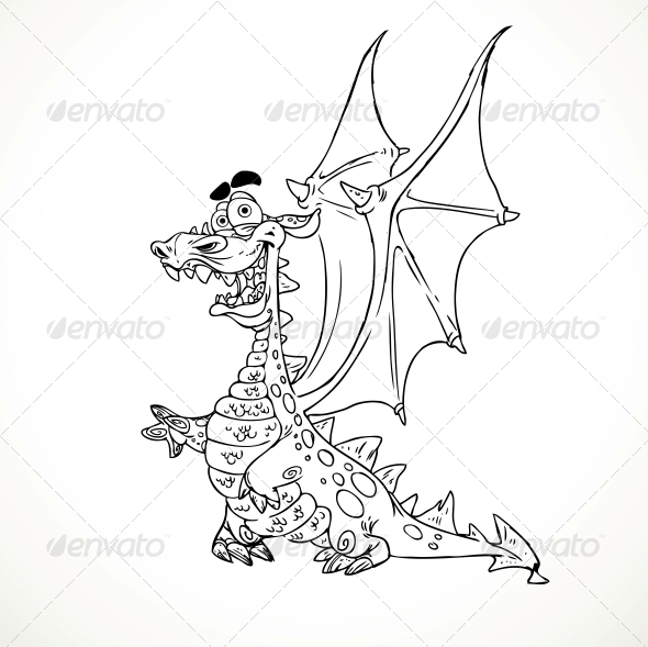GraphicRiver Fairytale Magical Dragon in Outlines for Coloring 6410067