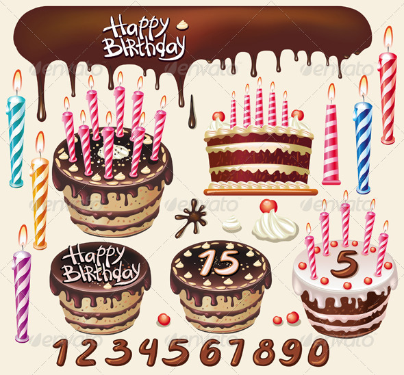 GraphicRiver Chocolate Cakes and Birthday Decoration 6410289