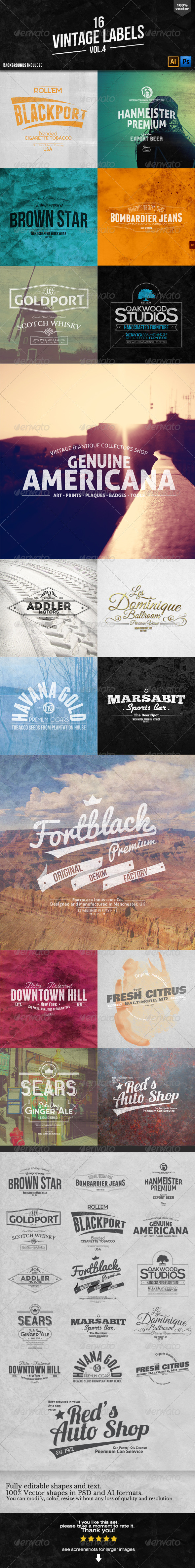 GraphicRiver 16 Vintage Labels and Badges Vol.4 6410345