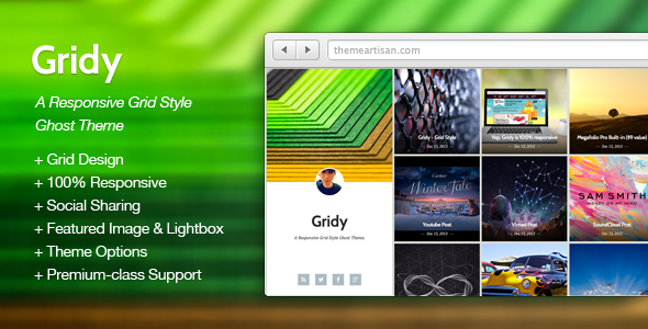 ThemeForest Gridy A Responsive Grid Style Ghost Theme 6410403