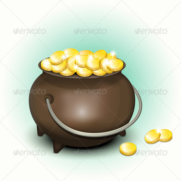 GraphicRiver Magic Pot with Gold Coins for Patricks Day 6410435