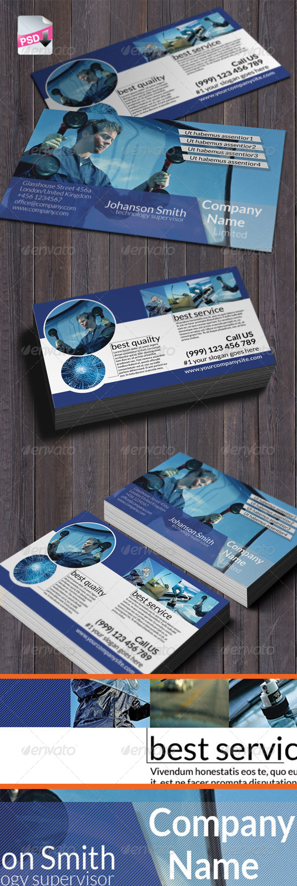GraphicRiver Autoglass Business card 6410437