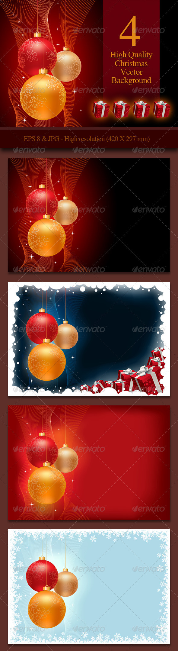 GraphicRiver 4 Christmas Background 668709