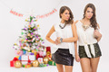 Two fashionable young women celebrating Christmas - PhotoDune Item for Sale