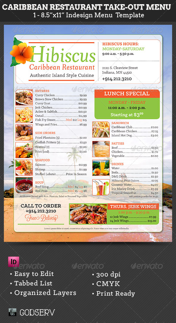 caribbean restaurant take out menu template graphicriver. Black Bedroom Furniture Sets. Home Design Ideas