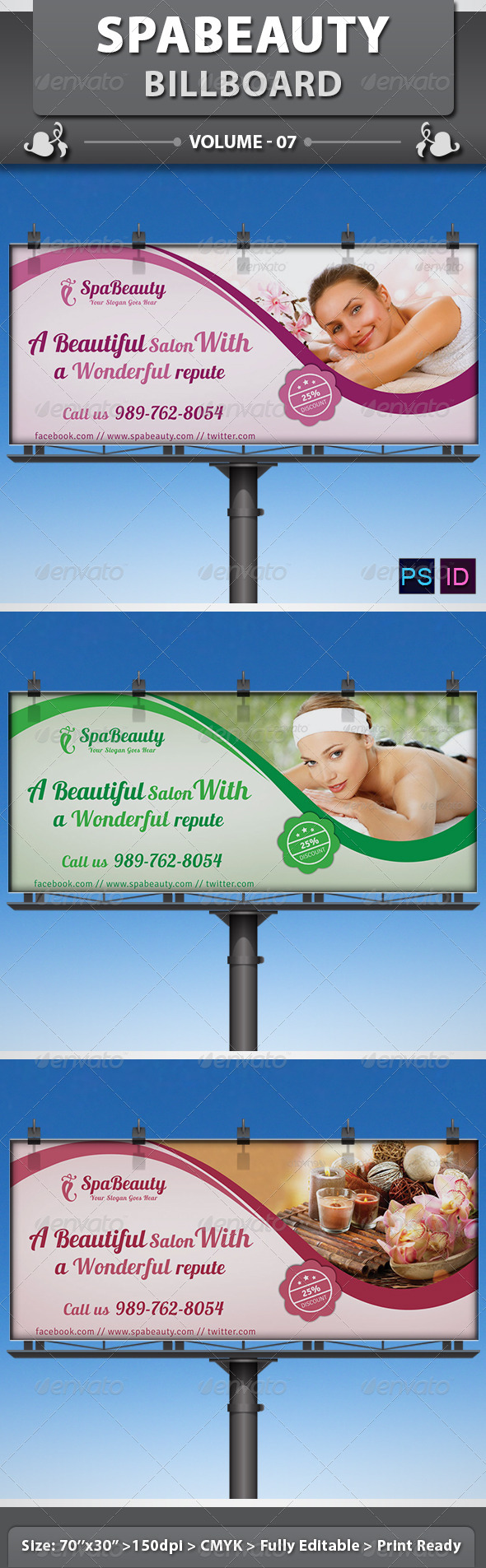 Spa & Beauty Saloon Billboard | Volume 11 - Signage Print Templates