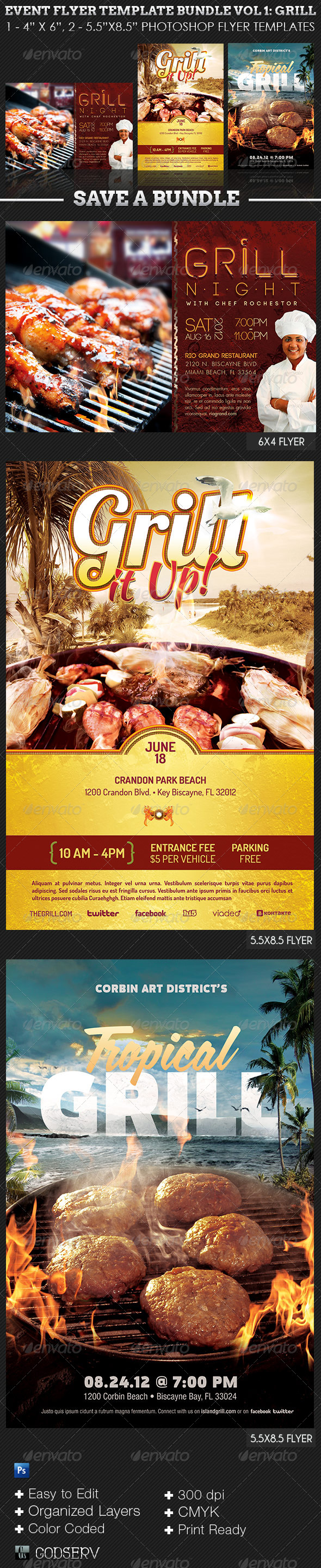 Barbeque and Grilling Event Flyer Template Bundle - Events Flyers