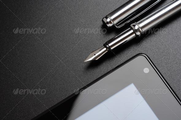 tablet, fountain pen.