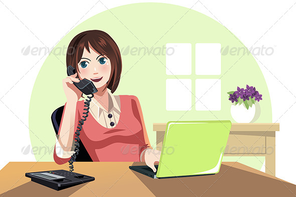 GraphicRiver Businesswoman Working in the Office 6412899