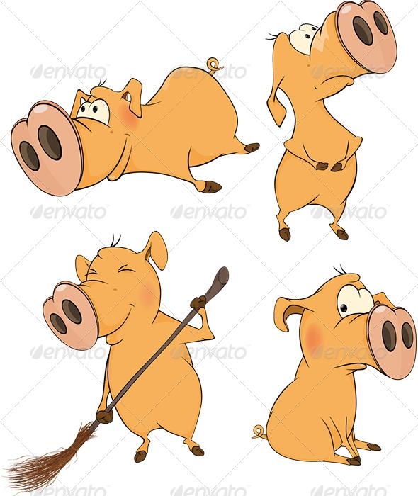 GraphicRiver Pigs Clip Art Cartoon 6413197