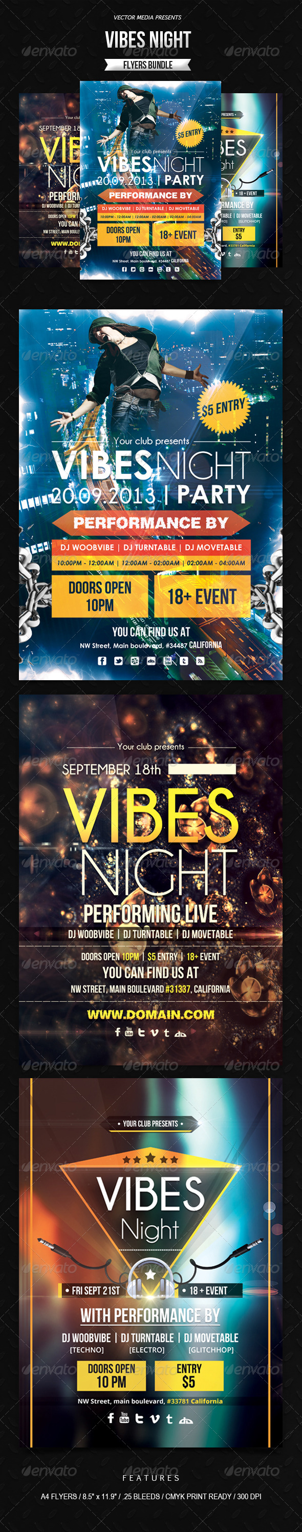 GraphicRiver Vibes Night Flyers Bundle 6413324