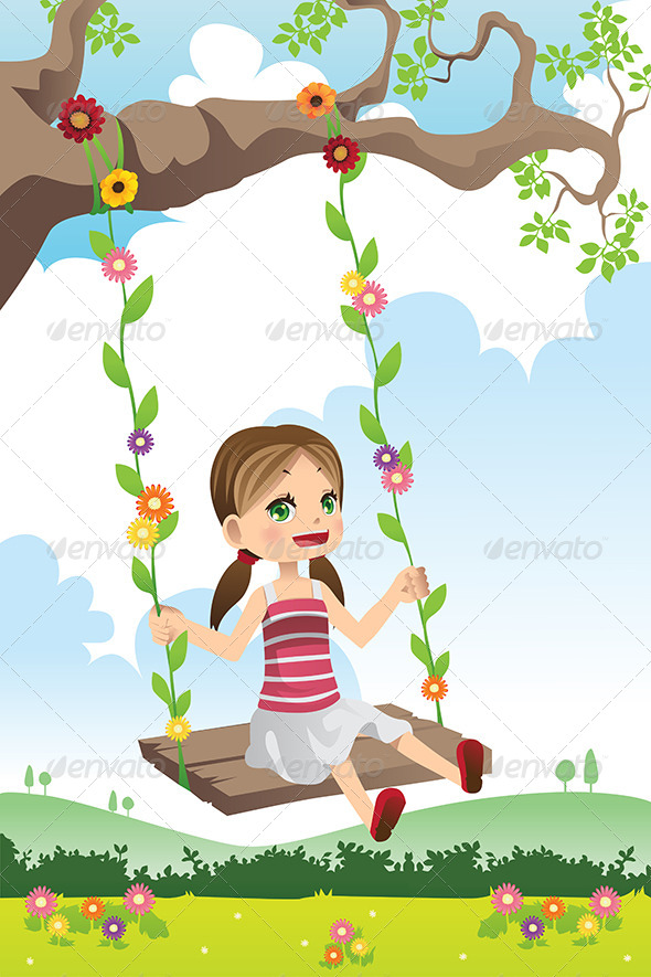 GraphicRiver Girl Swinging on a Tree 6413367