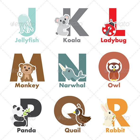 GraphicRiver Alphabet Animals 6413502