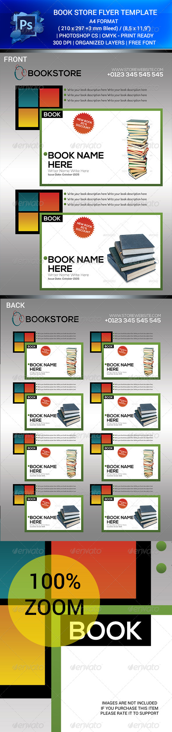 GraphicRiver BOOK STORE SALES FLYER TEMPALET V.1 PSD 6413773