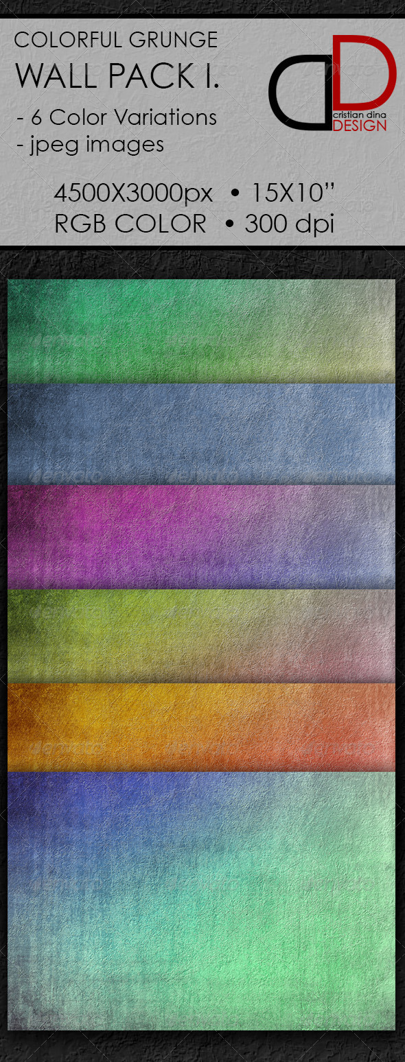 GraphicRiver Colorful Grunge Wall Pack I 6413858