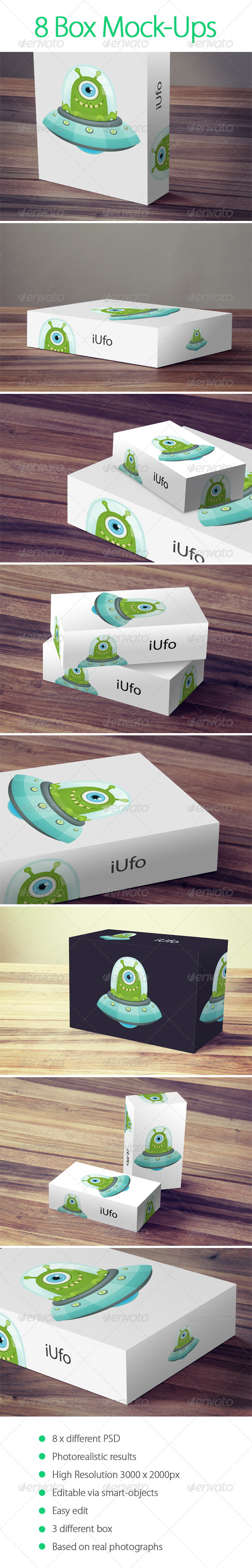 GraphicRiver 8 Box Mock-Up 6414208