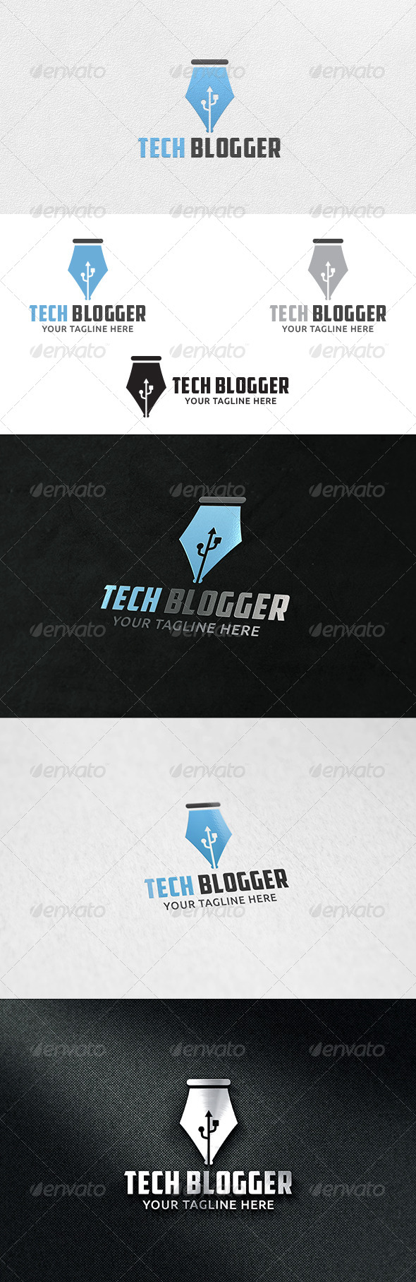 GraphicRiver Tech Blogger Logo Template 6415013