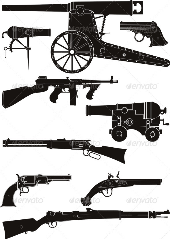 GraphicRiver Classic Firearms of Different Historical Periods 6415904