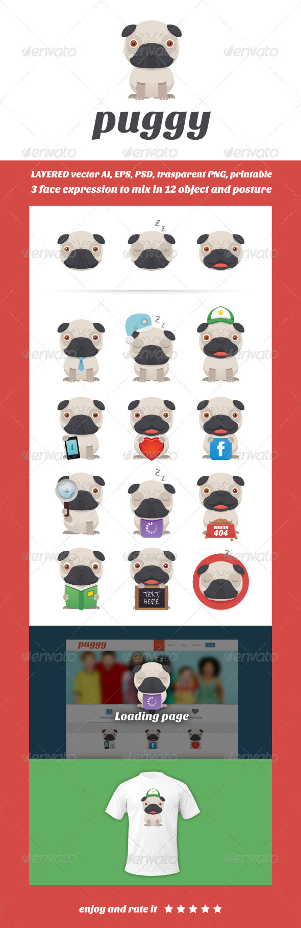 Puggy Mascot - Animals Characters