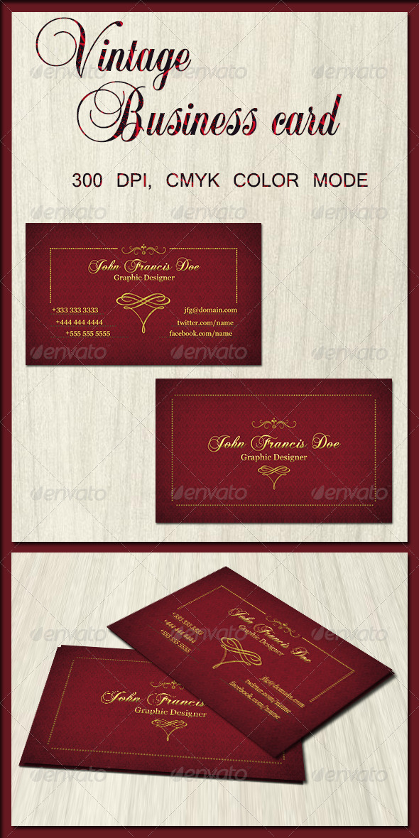 GraphicRiver Vintage Business Card 2 6371954