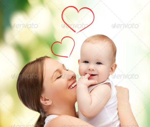 happy mother with adorable baby - Stock Photo - Images