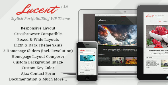ThemeForest Lucent Responsive Portfolio Blog WordPress Theme 6390343