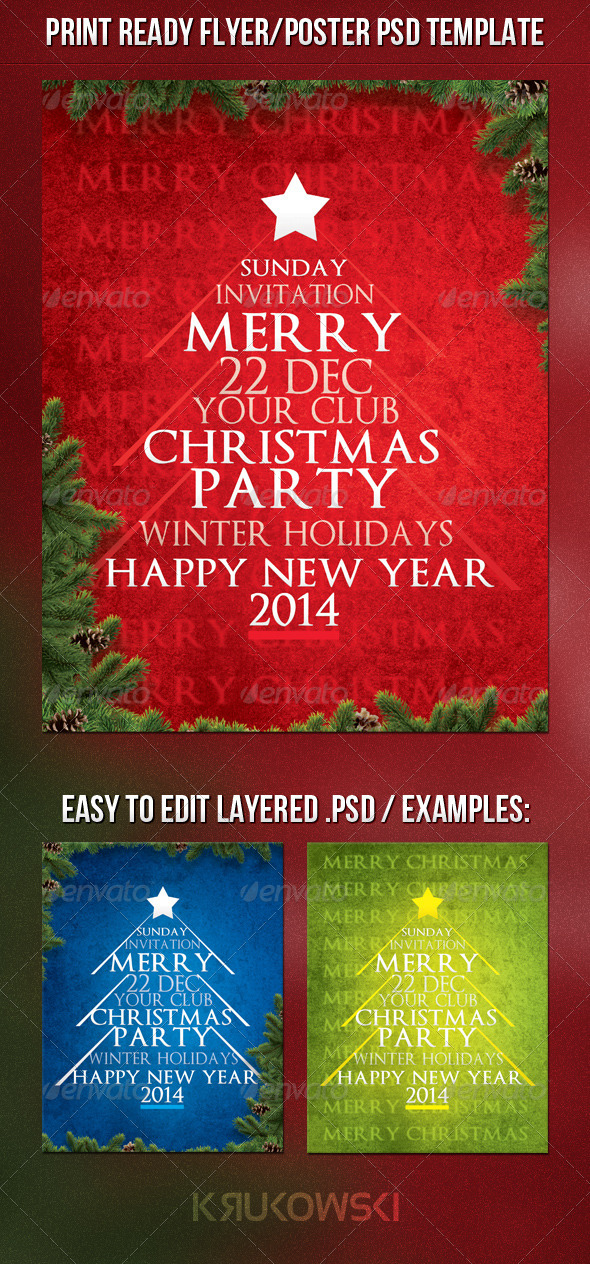 GraphicRiver Typography Christmas Flyer 6417020