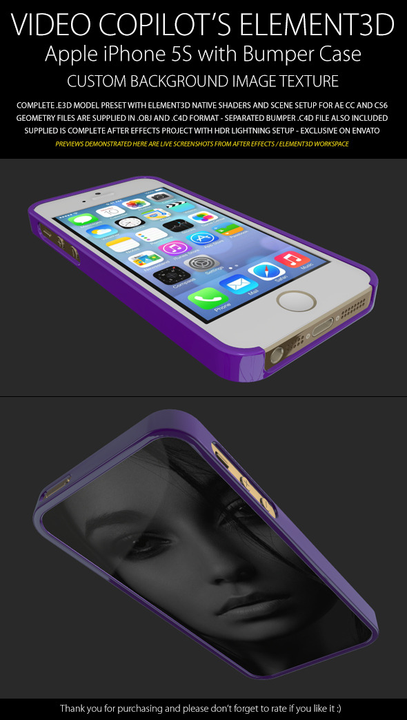 3DOcean Element3D iPhone 5S with Image Bumper Case 6417304