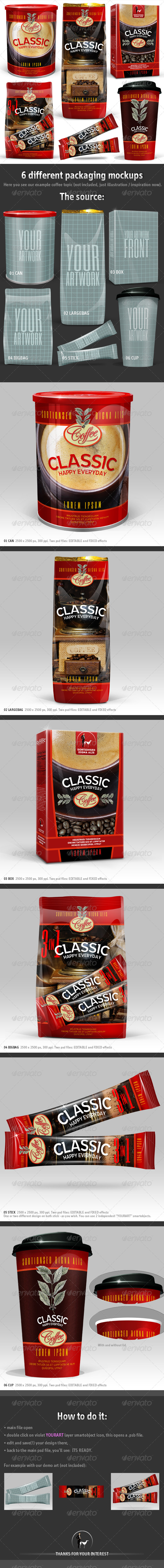 GraphicRiver 6 Coffee Packaging Mockups 6395992