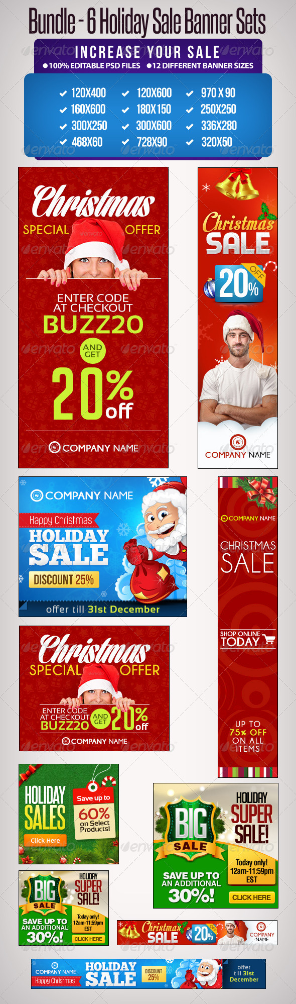 GraphicRiver Bundle 6 Sets of Holiday Sale Banners 6417461