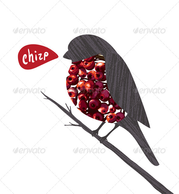 GraphicRiver Bullfinch Sitting on Ashberry Twig Collage 6417729