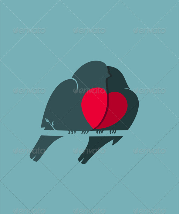 GraphicRiver Bullfinch Birds Heart Love Couple Sitting on Twig 6417776