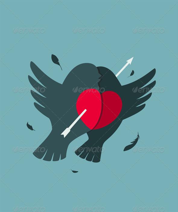 GraphicRiver Bullfinch Birds Heart Love Couple with Arrow 6417781