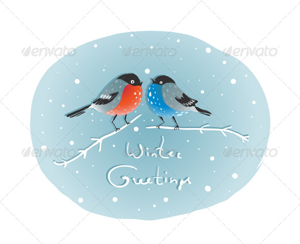 GraphicRiver Christmas Bullfinch Birds in Love Sitting on Twig 6417787