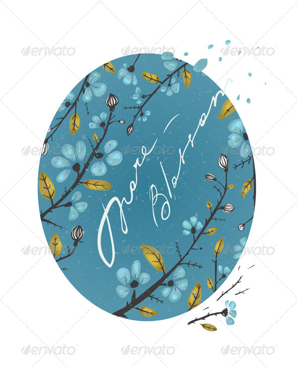 GraphicRiver Spring Flowers and Leaves Branches Drawing 6417797