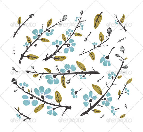 GraphicRiver Flowers and Leaves Branches for Decoration Set 6417805