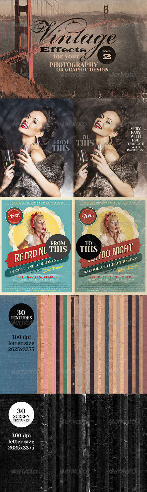 GraphicRiver Vintage Effects for Photo or Designs vol.2 6417969