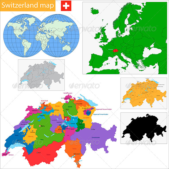 GraphicRiver Swiss Confederation Map 6418315